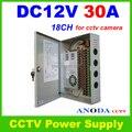 Caixa de Comutação da fonte de Alimentação DC12V 30A 18CH/Monitor de fonte de Alimentação Para 18 Câmeras de CCTV Portas