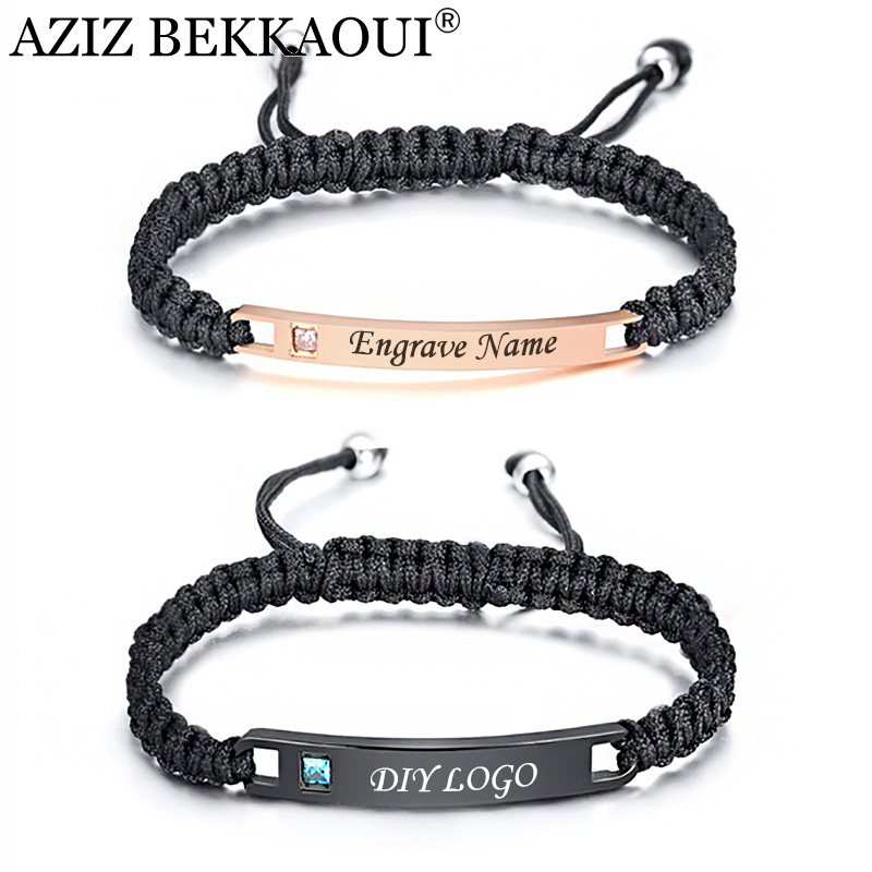 AZIZ BEKKAOUI Engrave Name Leather Couple Bracelets Handmade Rope Chain Stainless Steel Bracelet Lover Jewelry Dropshipping