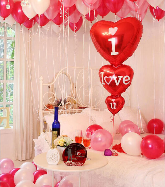 Wedding Party Decorations Romantic Heart Balloons Siamesed I Love