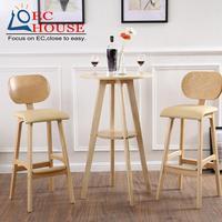 Solid Wood Chair Bar Chair Leisure Bar Chairs European Wood Color Brown Stool Guitar Chair High