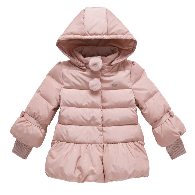 Fashion Kids Winter Down Coats Jackets Long Sleeve With Bow knot Stitching Cuff Sweater Hooded Down Jacket For Girls 3-12Y girls cute knitted sweater with skirt kids set wear sweet style with bow knot for spring