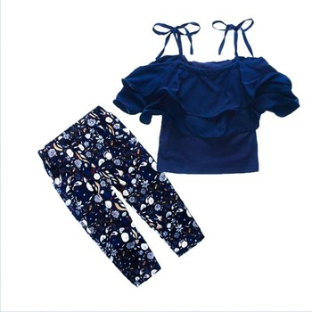 Girls Sets Clothes Kids Fashion Tops Floral Pants Two Piece Set Children Summer Suit 2019 new Outfits 7 8 9 10 11 12 13 14 Years