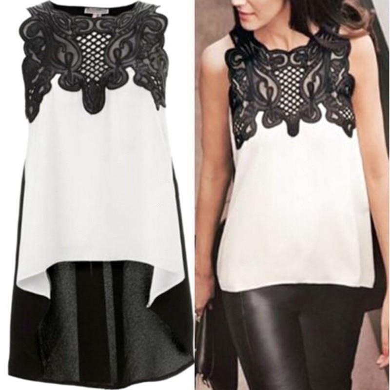2019 New Arrival Summer   Blouse   Women Black White Patchwork Casual Sleeveless Chiffon   Blouse     Shirt   Tops O-Neck Female   Shirts