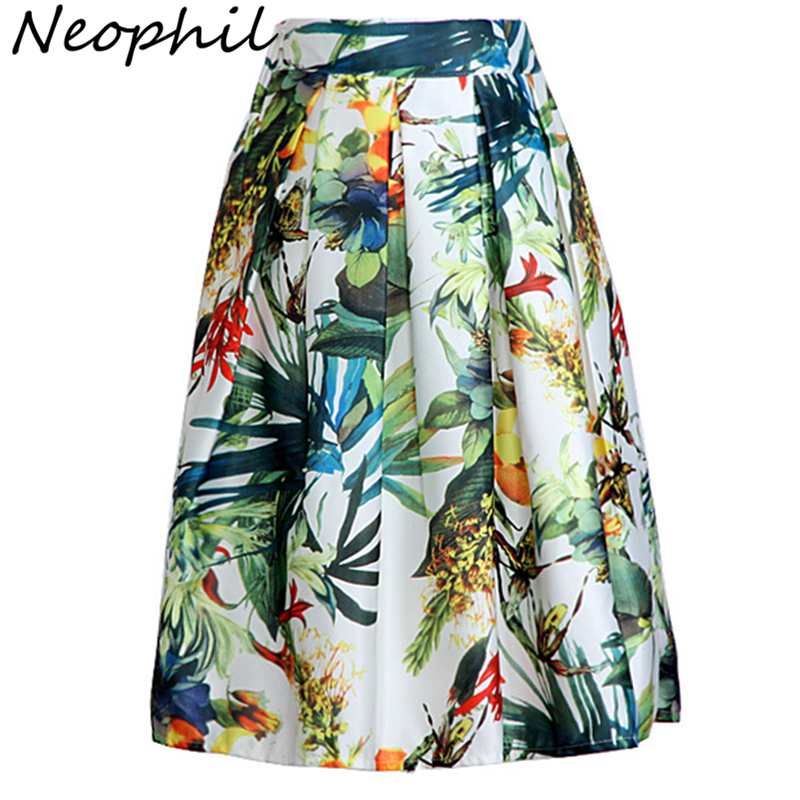 Neophil 2020 Fashion Hot Tropical Floral Print High Waist Fluffy Pleated Saias Flare Satin Tutu Midi Skater Skirts Womens S07047