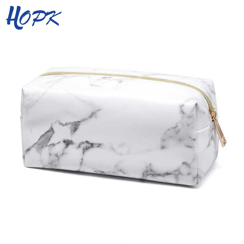 Ins Nordic Style Marble Zipper PU Leather Pencil Case For Girl Pencil Bag Marble Pattern Big Capacity Pencil Box School Supplies