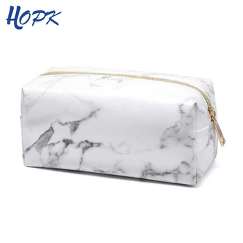 Ins Nordic Style Marble Zipper PU Leather Pencil Case for Girl Bag Pattern Big Capacity Box School Supplies