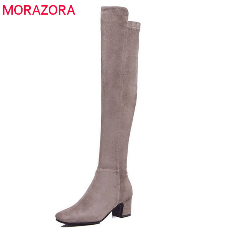 MORAZORA 2018 top quality suede leather long boots women simple zipper solid color sexy over the knee boots square high heels sexy women s round neck ruffled solid color top