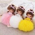 Cartoon Silk Bowknot Monchichi Dolls Pompon Keychain Crystal With Fur Pom Pom Ball key Chain For Women Bag Car Pendant