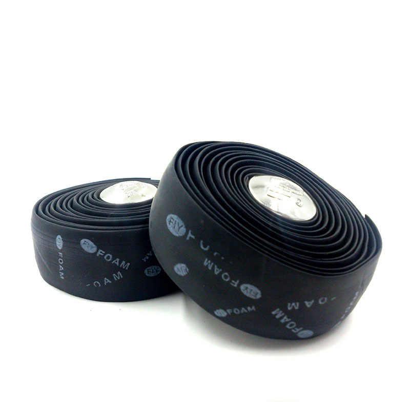 Gmarty 1Pc 200cm x 3cm noir/bleu vélo poignée ceinture vélo liège ruban pour guidon + 2 barre plug haute qualité