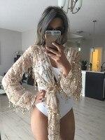 Women Deep V Neck Shinning Sequin Blouse Tassel Lantem Long Sleeve Crop Top Tassel Loose Blouse