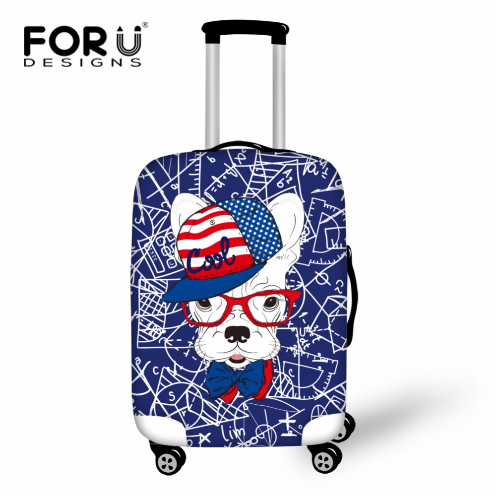 FORUDESIGNS Math Formula Waterproof Travel Luggage Cover Dog Pattern Travel Suitcase Cover Spandex 18-30inch Trunk Case Cover
