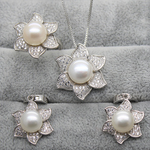 2016 Fashion Pearl Jewelry Set Natural Freshwater Pearls Flower Necklace Earring Ring 925 Sterling Silver Jewelry For Women Gift