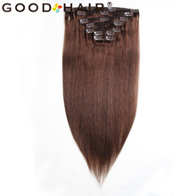 GOOD HAIR Brazilian Straight Hair Clip In Human Hair Extensions 7Pcs/set Non-remy Hair 100-105G Brown Color 18″ 22″