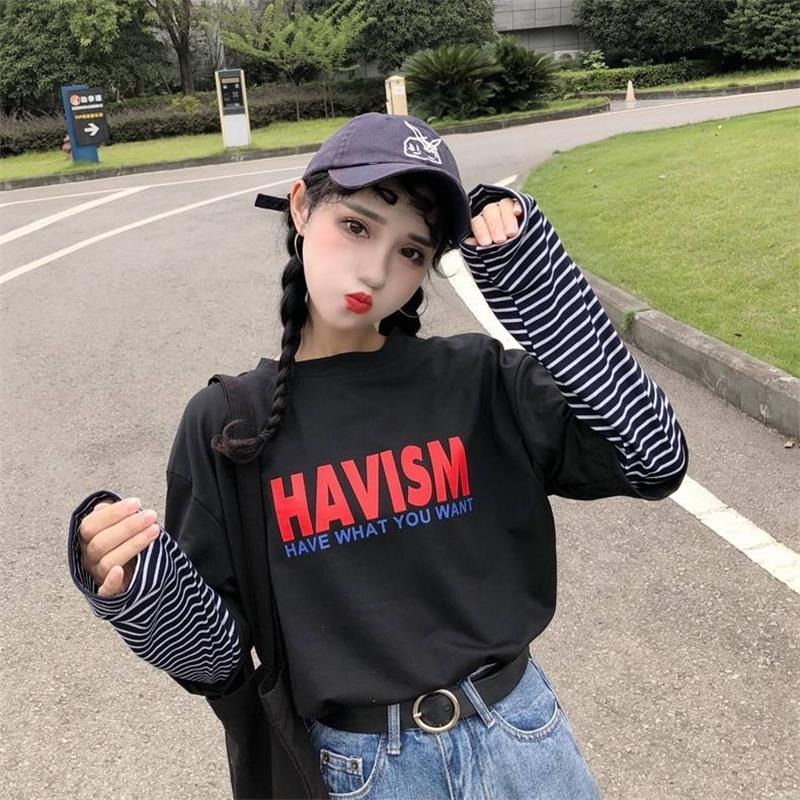 Women's Tshirts Tunic Kawaii Ladies Vintage Loose Fake Two Piece Casual T-shirt Female Ulzzang Harajuku Top For Women Tee