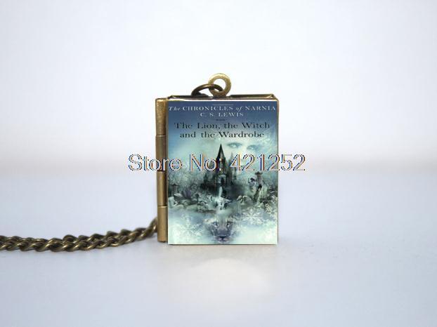 12pcs <font><b>The</b></font> <font><b>Chronicles</b></font> <font><b>of</b></font> <font><b>Narnia</b></font> Book cover Locket Necklace <font><b>the</b></font> <font><b>lion</b></font> , <font><b>the</b></font> <font><b>witch</b></font> necklace BRONZE tone VISION 11