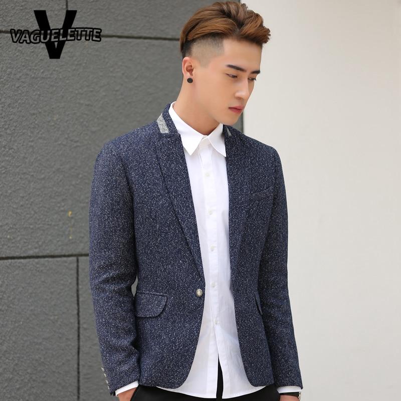 Tweed Mens Grey Blazer Plus Size Skinny Korean Style Fashion Mens ...