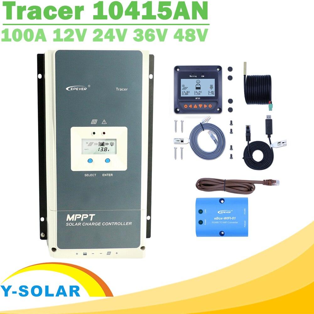 EPever MPPT 100A 12V 24V 36V 48 24v ソーラー充電コントローラバックライト液晶最大 150V PV 入力共通負接地 Tracer10415AN  グループ上の 家のリフォーム からの ソーラー コントローラ の中 1
