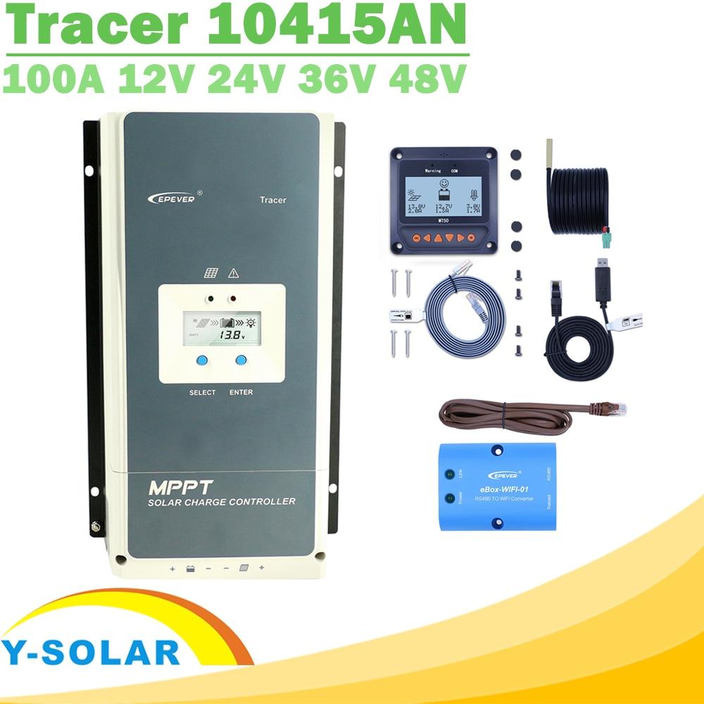 EPever MPPT 100A 12V 24V 36V 48V Solar Charge Controller Backlight LCD Max 150V PV Input Common Negative Grounding Tracer10415ANSolar Controllers   -
