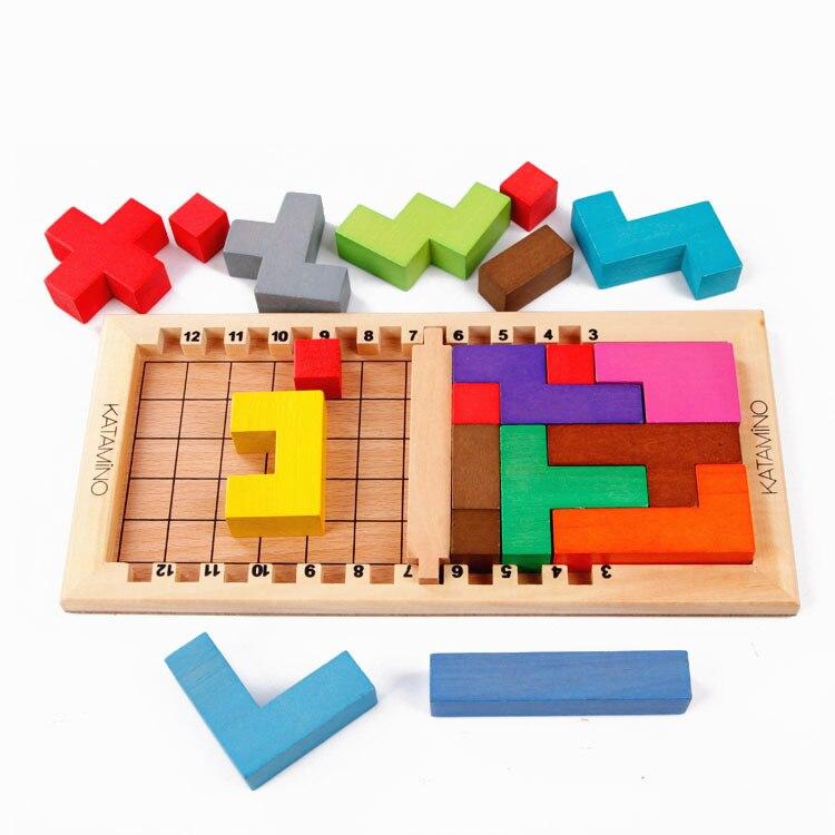 Bébé Jouets Éducatifs Katamino Bois D'apprentissage/L'éducation Tetris Slide Puzzle Bâtiment Enfants Jouets En Bois Cadeau