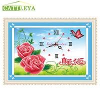 5D Diamond Painting Rose Flowes Clock Diamond Cross Stitch Diamond Sets Unfinished Decorative Diamond Embroidery