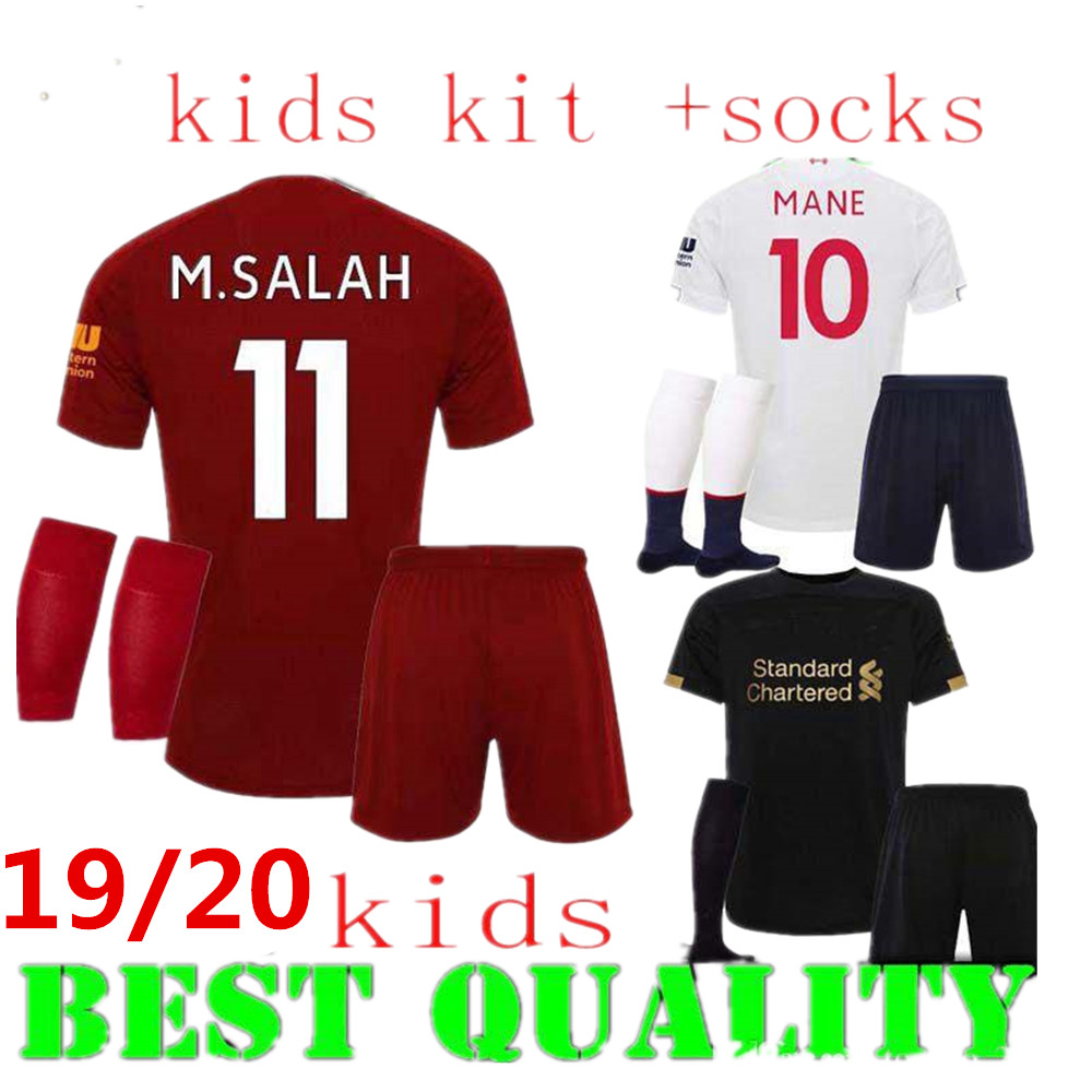 the latest 8c99c f855a boys 2019 2020 Liverpool kids kit+ socks Soccer Jersey home Black  goalkeeper M.SALAH MANE 19 20 kids ...