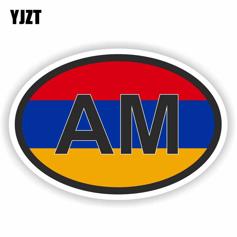 YJZT 13CM*8.8CM Car Styling Armenia AM Motorcycle Decal Country Code Car Sticker 6-0931