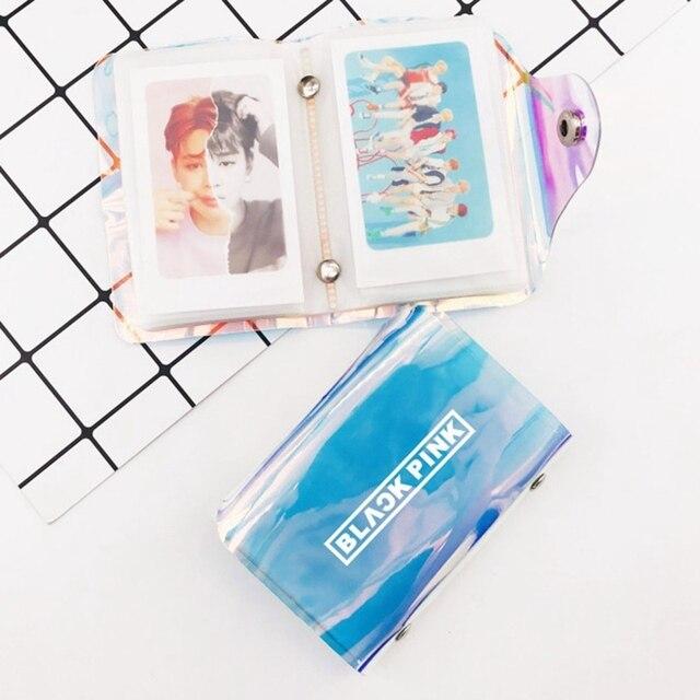 US $2 34 5% OFF|2019 New Kpop BTS TWICE BLACKPINK EXO GOT7 WANNAONE Large  capacity Storage Album Small Laser Transparent Card Holder-in File Folder