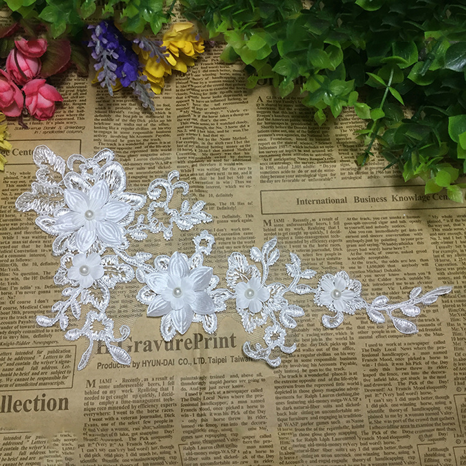 1 Pair Beaded Lace Applique White Flower Patches For Wedding Dress Bridal Handmade Headpiece Veil Lace Trim Sewing Accessories