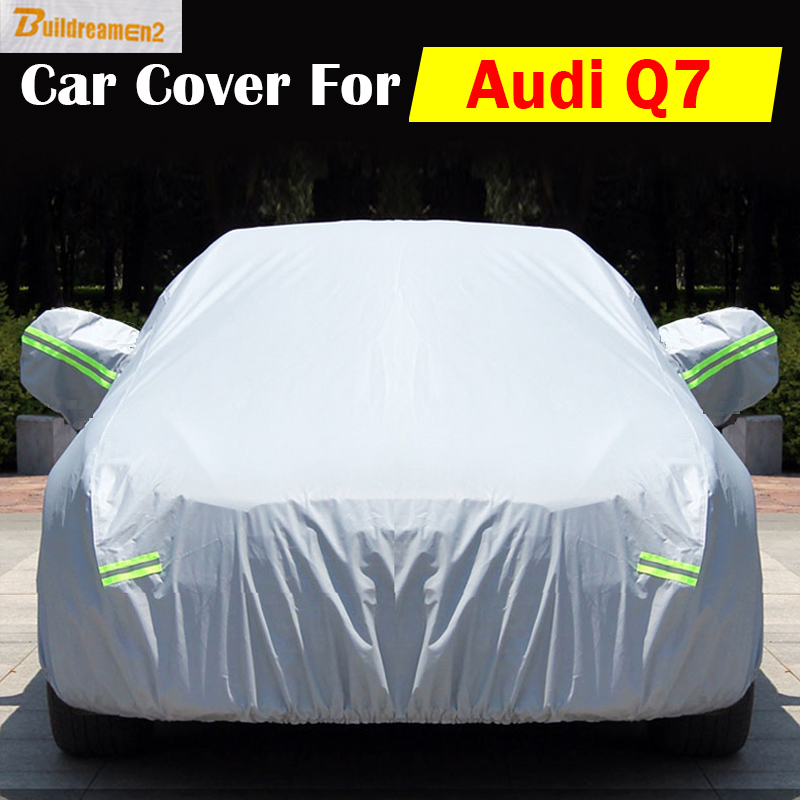 Buildreamen2 Car Cover Vehicle UV Anti Rain Sun Snow Scratch Dust Resistant Cover Sun Shade Dustproof Waterproof For Audi Q7 buildreamen2 new car cover auto sun shield anti uv rain snow protector cover waterproof for peugeot 1007 2008 207 307 4008 405