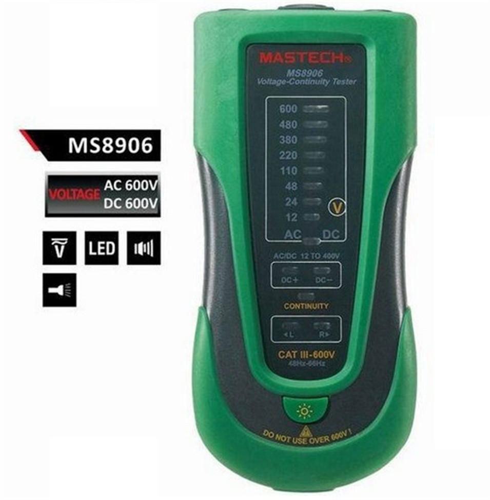 US $36 45  MASTECH MS8906 Auto Range Electronic AC DC Voltage Continuity  Tester 12V~600V LED Indicator Phase Sequence Test-in Voltage Meters from