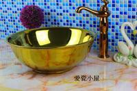 Ceramics. Circle. Artistic basin, basin. Golden bright face round bowl