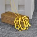 Venta al por mayor 925 del monograma de la plata 3 inicial plateado de oro de la joyería de encargo collier en argent