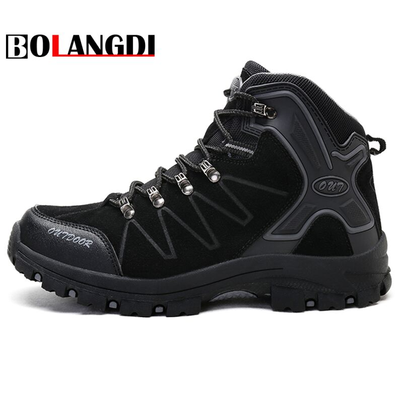 Bolangdi New High Cut Men Winter Plush keep warm Boots Men's Outdoor Hiking Shoes Man Trekking Shoes Mountain Climbing Sneakers