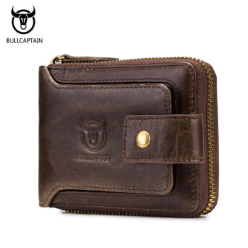 BULLCAPTAIN Luxury Brand Genuine Leather Wallet Men Coin Purse Male Wallets Vintage Male Clutch Fashion Men Wallets Card Holder genuine cow leather men wallets rfid double zipper card holder high quality male wallets purse vintage coin holder men wallets