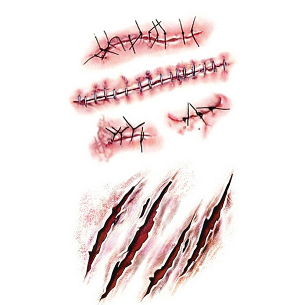 10pcs halloween zombie blood scars tattoos with fake scab bloody halloween decoration horror wound scary blood injury sticker - Bloody Halloween Masks