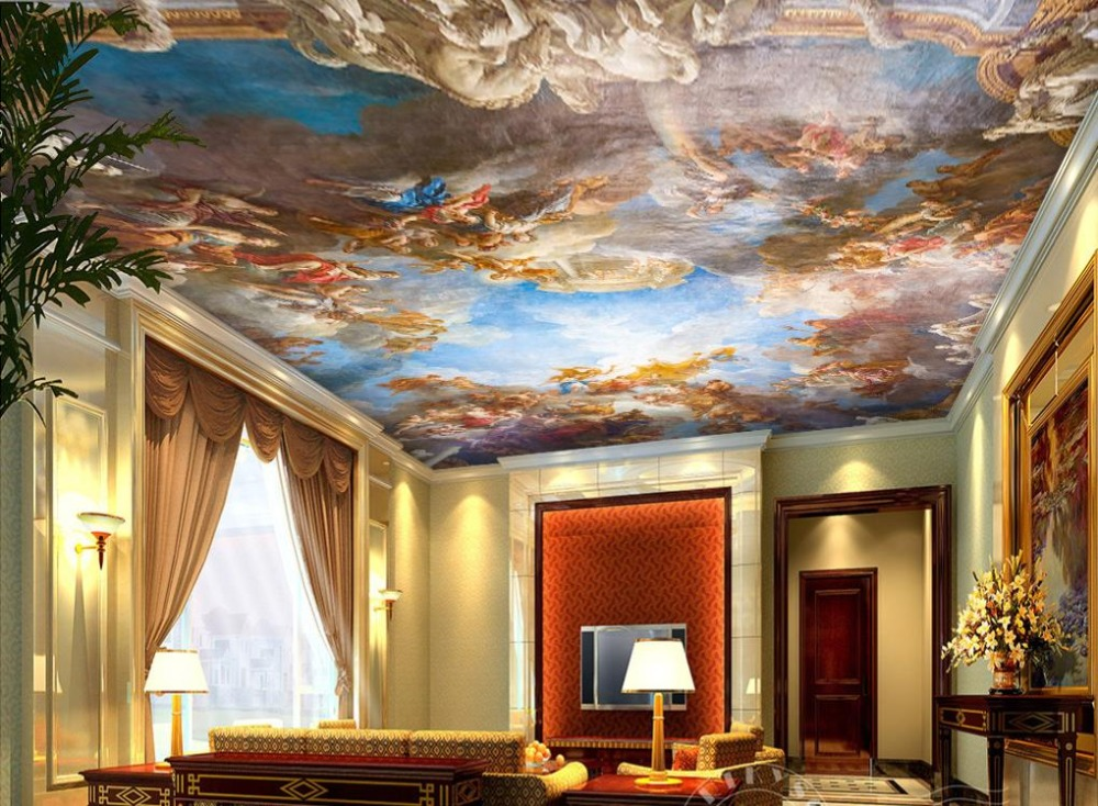 European Mural Sky Ceiling Wallpaper White Cloud Palace Wallpaper