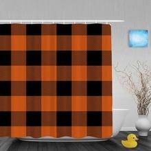 Wonderful Seamless Knitting Pattern Decor Bathroom Shower Curtains Orange Black Grid  Shower Curtain Waterproof Polyester Fabric With