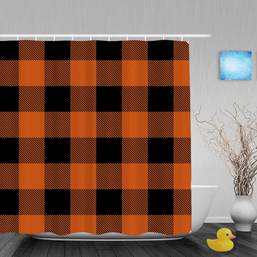 Seamless Knitting Pattern Decor Bathroom Shower Curtains Orange Black Grid Shower  Curtain Waterproof Polyester Fabric WithPopular Shower Curtain Orange Buy Cheap Shower Curtain Orange lots  . Orange And Black Shower Curtain. Home Design Ideas