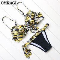 OMKAGI Brand Brazilian Bikini 2017 Swimwear Swimsuit Women Sexy Bandage Bikinis Set Swimming Bathing Suit Beachwear