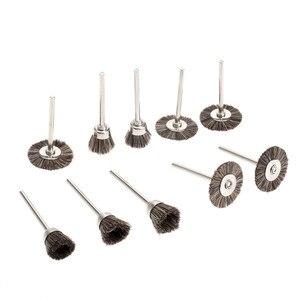 Image 5 - 10 adet Dremel Aksesuarları Parlatma Tekerlekleri fırça kiti Döner Araçları için Mini Matkap Metal Parlatma Parlatma Çapak Alma tekerlek fırçası