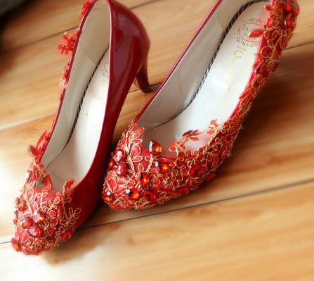ФОТО Med heel 4.5cm middle heeled red gold lace pumps shoes for women TG131, fashion the newest coming women's dance red dress pumps