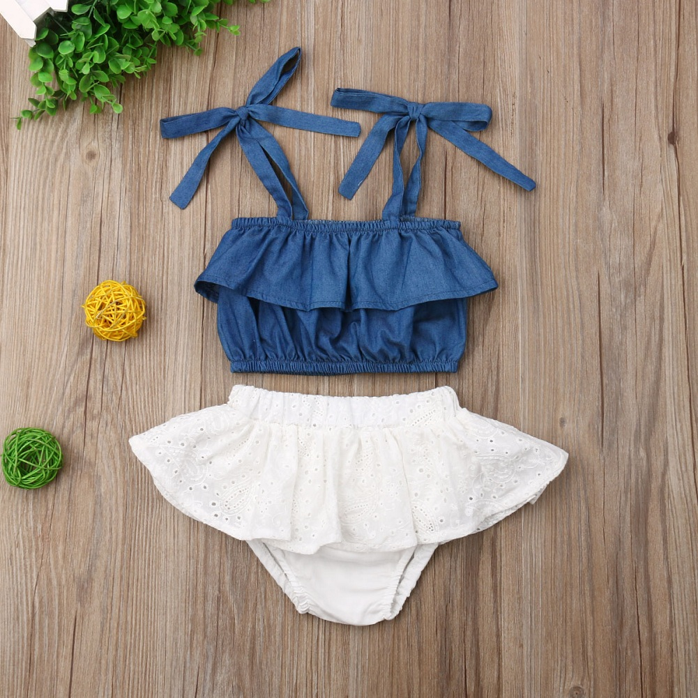 Newborn Baby Girl Clothes Solid Color Denim Strap Crop Tops Lace Ruffle Short Pants 2pcs Outfits Summer Clothes