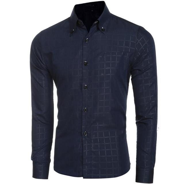 Mens Dress Shirts Pliad Men Shirt Casual Long Sleeve Business Style Slim Fit Fashion Men Clothes Camiseta Masculina#C729