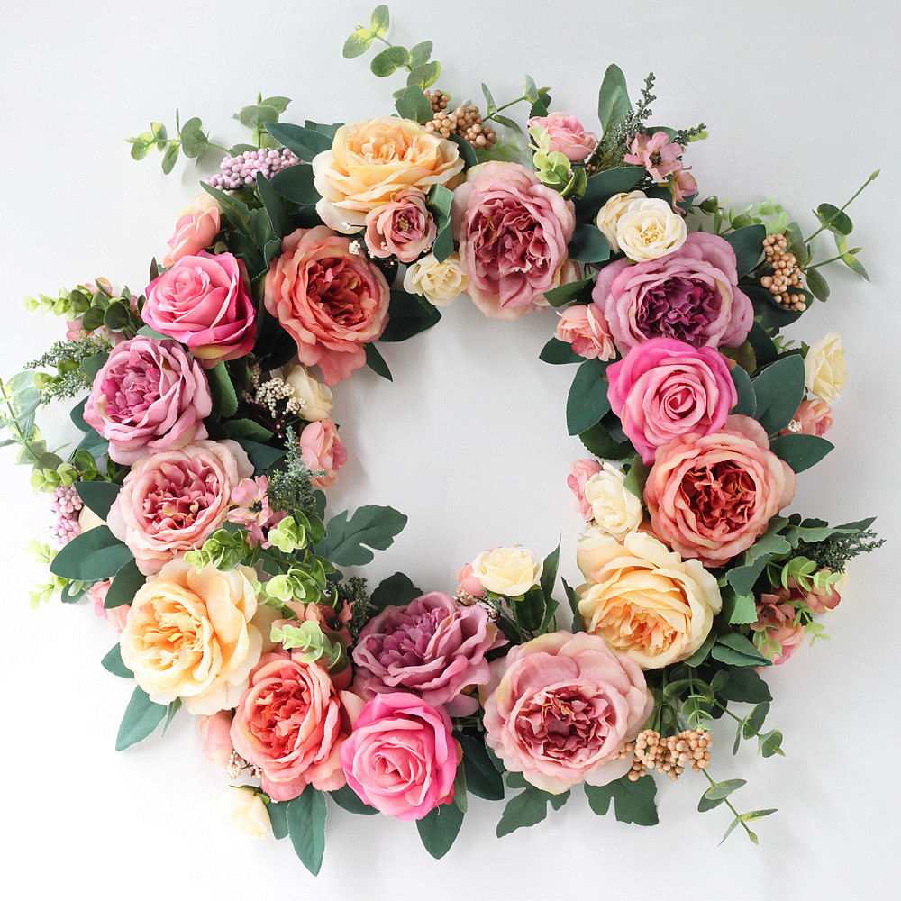 50CM Artificial Rose Flowers Door Wreaths Silk Cloth Garland for Christmas Wedding Wreaths Decoration