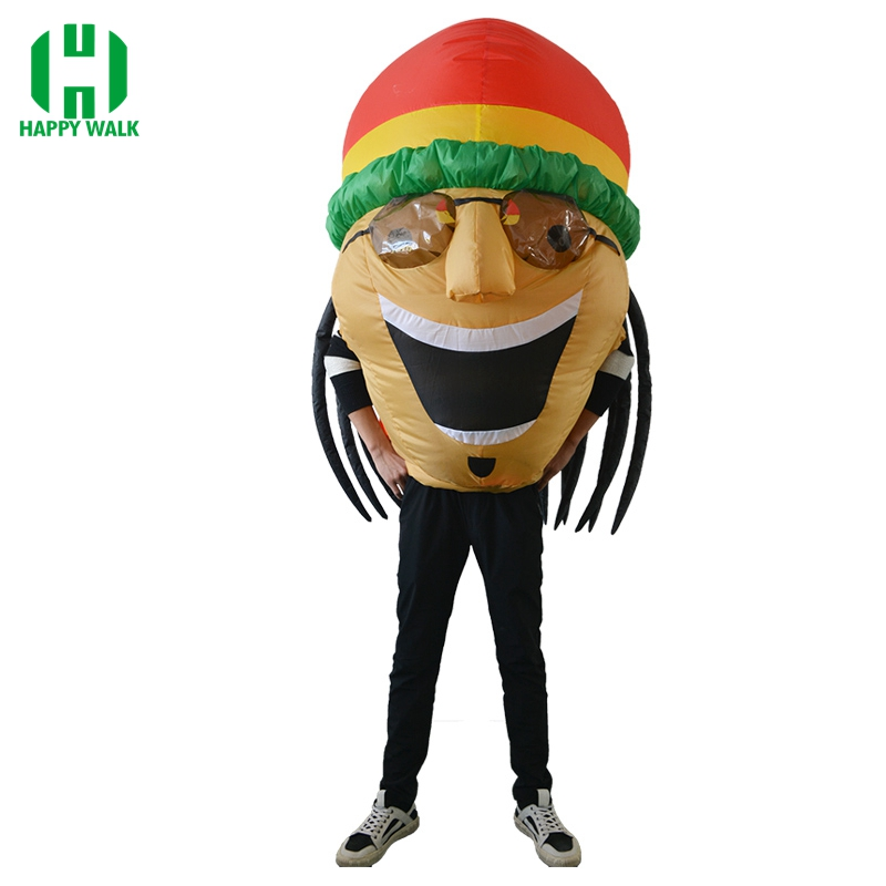 Cosplay Adult Funny Inflatable Jamaican Costume with Big Fat Head Wearing Sunglasses Hat Airblown Illusion Halloween Outfits
