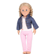 New Hot Styles Beauty Jean Jacket White Lace Shirt Pink Pants For 18 Inch American Girl