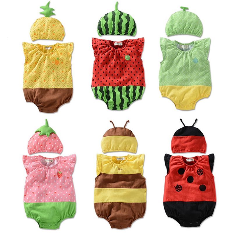 Baby Girls Rompers Cotton Baby Clothes Fruit Infant Jumpsuits+Hat 2pcs Toddler Girls Clothing Set 2017 Newborn Photography Props baby girls rompers cotton baby clothes fruit infant jumpsuits hat 2pcs toddler girls clothing set 2017 newborn photography props