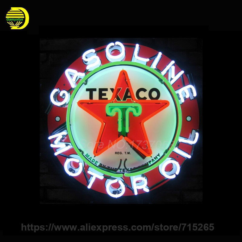 Neon Sign For Texaco Motor Oil Neon SignS Gasoline Commercial Board Neon Lamp Glass Tube Handicraft gas Shop Display VD 24X24