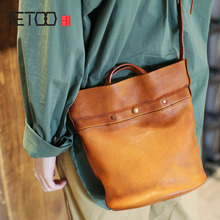 AETOO New retro personality Sen literary handbags handmade leather portable soft leather bucket bag shoulder Messenger bag