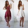 2017 new spring and summer Spaghetti starp V-neck long sexy burst long Irregular lace dress for women girls
